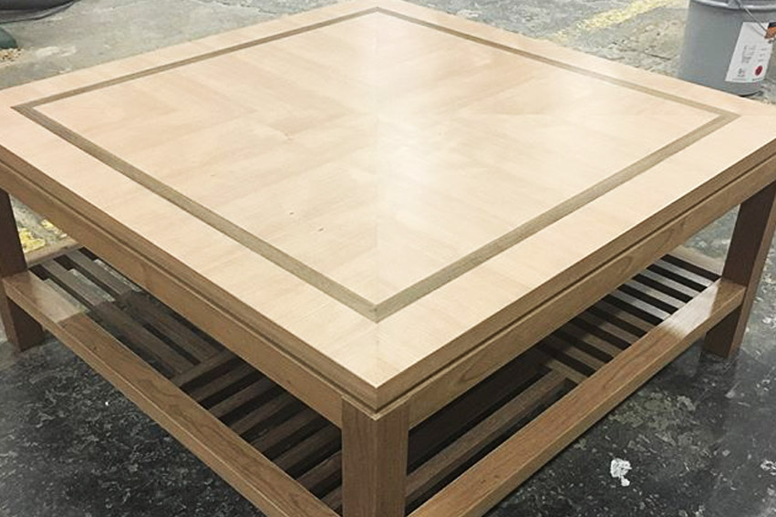 Custom designed coffee table with shelf